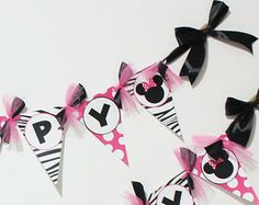 Minnie Mouse Birthday Banner in hot pink and zebra - instant download-