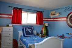 Comavengers Kids Room : captain america room for boys  My sons new room, Captain America ...