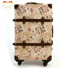 Free delivery of original design stamps Flower Travel Box Retro rod box universal wheel suitcases landing chassis