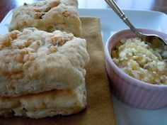 Buttermilk Blue Cheese Biscuits with Walnuts and Apple Thyme Butter