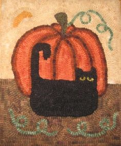 Primitive Rug Hooking Kit Hooked Pumpkin Cat Linen Wool Hook | eBay