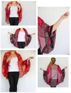 Turn your scarf into a kimono ~ wing scarvesthis is what I did with my paisley scarf, cute! Turn your scarf into a kimonoBad link, but this pic is self explanatory. Just tie ends of scarf!You can do so much with cardboard — kids crafts, DIY organiz Ways To Wear A Scarf, How To Wear Scarves, Scarf Vest How To, Diy Clothing, Sewing Clothes, Mode Kimono, Diy Vetement, Mode Inspiration, Scarf Styles