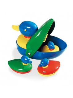 The little ducklings hide inside the Mother duck. Great fun for little ones and very neat to store!