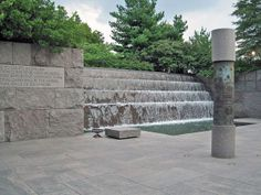 Franklin Delano Roosevelt Memorial, Washington, DC | Designed as a sequence of four garden rooms by landscape architect Lawrence Halprin, the memorial presents a narrative recounting the four terms of Franklin Delano Roosevelt's presidency. Stone is used to express the fracture and upheaval of the times and water, in the form of cascades, waterfalls, and pools, is used as a metaphorical component, with the volume and complexity escalating as the narrative progresses.