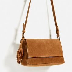 Image 4 of SPLIT-SUEDE CROSSBODY BAG WITH TASSELS from Zara