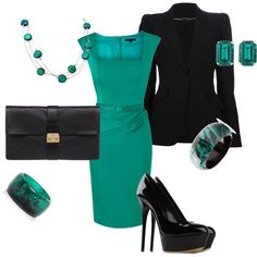 """Black and Peacock Green"" by tara-nitti on Polyvore"