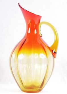 Blenko art glass orange Ewer/Pitcher/Jug
