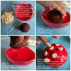 toadstool cupcake steps Collage with text Woodland Party