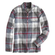 Pre-order Brushed flannel popover in dark pacific plaid