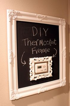 I've seen several ways to disguise a thermostat, but this is by far my favorite. Love the frame-in-frame and the chalkboard idea. Original idea & everyone knows how I love me some chalkboard paint! Young House Love, Chalk It Up, Framed Chalkboard, Frame It, Diy Frame, Home Projects, Picture Frames, Diy Home Decor, Home Goods