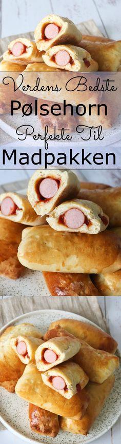 Lækre bløde pølsehorn! De er lavet af den lækreste bløde dej, som ikke bliver tør heller ikke efter en tur i fryseren. Disse er currywurst inspireret, men karry og ketchup kan nemt droppes og så har du nogle skønne, nemme og almindelige pølsehorn. Familien vil elske disse lækre bløde pølsehorn og de er så nemme at lave! #Pølsehorn #Brød #Madpakke #Frokost
