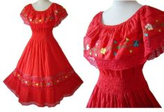 mexican christmas cloths | ... Red Mexican Embroidered Floral Lace Fiesta Dress NOSWT - Stylehive
