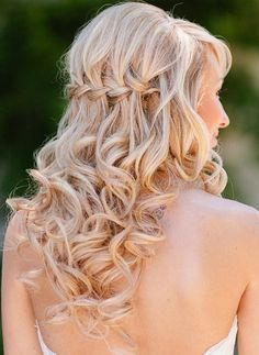 Curly Braided Half Updo Style---waterfall braid with curls Wedding Hairstyles For Long Hair, Wedding Hair And Makeup, Down Hairstyles, Pretty Hairstyles, Hair Makeup, Bridal Hairstyles, Homecoming Hairstyles, Summer Hairstyles, Updo Styles