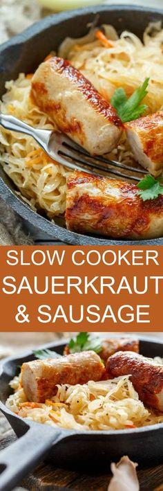FAMILY FAVORITE Slow Cooker Sauerkraut and Sausage served over mashed potatoes! This easy crockpot meal will become your family's new favorite dinner! Use a good pork kielbasa for full flavor! It's inspired by my Polish family!