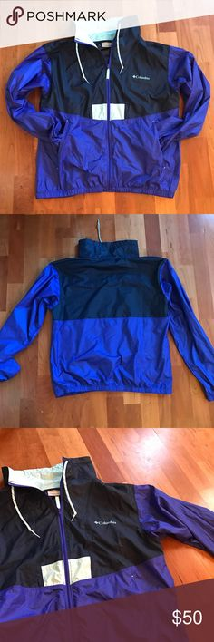 Columbia Flashback Windbreaker Columbia Flashback Windbreaker in medium. Colors are royal blue, navy and sky blue, best represented in the third picture . Rare! Like new condition Columbia Jackets & Coats