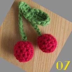 Tutorial: The dinette hook # 07 Cherries Crochet Edging Patterns, Crochet Amigurumi Free Patterns, Crochet Motif, Crochet Flowers, Crochet Edgings, Crochet Diy, Crochet Food, Crochet Gifts, Tutorial Crochet