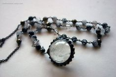 Crystal Ball Lariat Necklace // Tourmalinated by HedonistINC