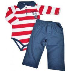 Conjunto bebê menino body polo com calça em suedine Mini   Kids e138400d07908