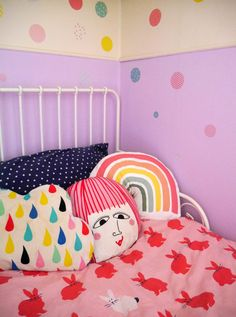 Five ways to add colour to your family home - how to paint a section of a child's room to add color and make a creative kid's room Creative Decor, Creative Kids, Family Homes, Home And Family, Cloud Shelves, Home Decor Inspiration, Decor Ideas, Diy Wall Stickers, Room Paint Colors