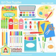 Clip Art: Art Class Supplies - Classroom theme clipart $