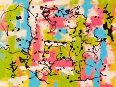 Multi-colored abstract painting. Ready to ship. Ready to hang.