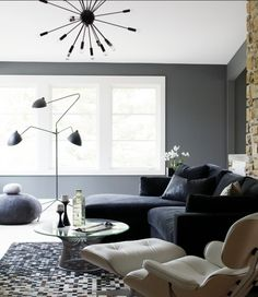 Masculine Interiors: Grey and white walls. Black details