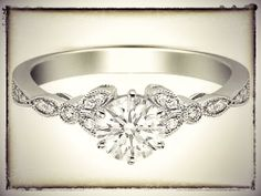 Floral Vintage Diamond Engagement Ring