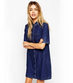 ASOS Denim Shirt Dress with Patch Pocket in Dark Wash Blue