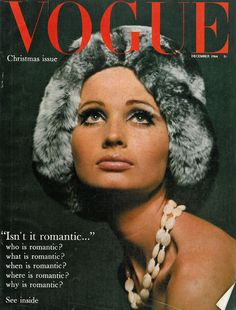 Vogue December 1964, fur hat, beans necklace