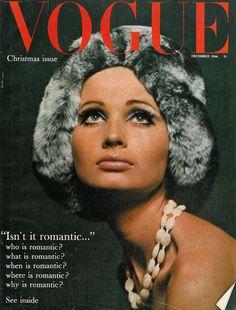 Vogue December 1964, fur hat, beans necklace