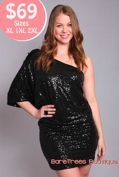 Sleek and Sparkles all in one! A gorgeous plus size dress for new years from BareTrees Boutique.