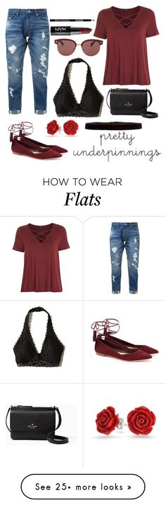 """black bralette"" by k26brooks on Polyvore featuring Topshop, Hollister Co., Guild Prime, Loeffler Randall, Kate Spade, Oliver Peoples, Steve Madden, Bling Jewelry and NYX"