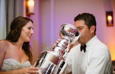"""Instead of feeding each other cake at your wedding why not drink out of a """"Stanley Cup"""" #Hockey #Wedding"""