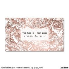 Stylish rose gold foil hand drawn floral pattern pack of standard business cards
