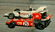 Peter Gethin (BRM P160) winning Monza 1971 0.01 Sec ahead of Ronnie Peterson (March 711)