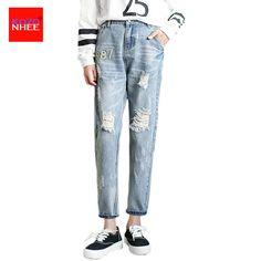 Casual Holes Ripped Boyfriend Jeans Women Denim Fashion Loose Capris Jeans Slim Beggar Female Jeans Ankle-lenght Pants #Affiliate