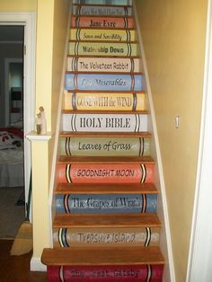 I want to rip the carpet off the stairs and do this! I still want to rub some stain on after the paint cures, but I was able to make my own Magic House stairs in the new cottage. Its a combo of latex, acrylics, and rub on vinyl fonts. Book Staircase, Staircase Design, Bookcase Stairs, Staircase Ideas, Magic House, Painted Stairs, Wooden Stairs, House Stairs, Cottage Stairs