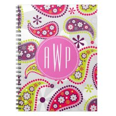 Paisley & Pink Monogram Notebooks by Jill's Paperie