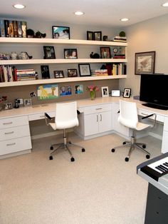 Love the shelves and double desk.
