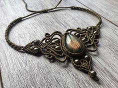 Halskette mit Labradorit Makramee Ras Makramee Hippie von BelisaMag