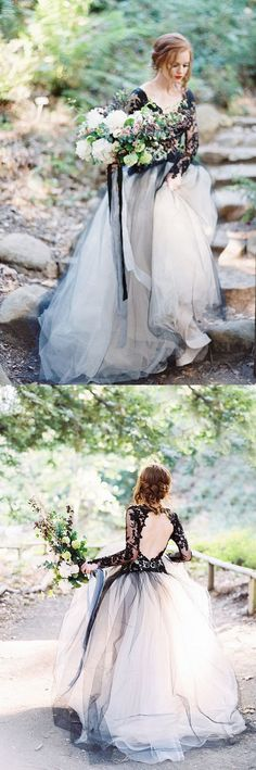long wedding dress, 2018 wedding dress, black and white prom dress, long sleeves wedding dress, prom dress