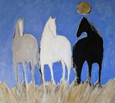 """""""Blue Sky Horses""""  48x48 - acrylic and oil on canvas by Karen Bezuidenhout (sold)"""