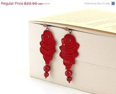 ON SALE Red Crocheted Earrings OOAK Coral Abstract by PinaraDesign, $18.32