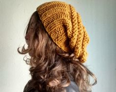 Mustard Yellow Hat, Knit Slouchy Hat, Knit Slouchy Beanie, Womens Beanies…