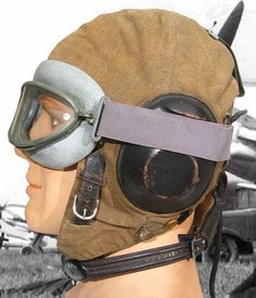 caff4253962 Luftwaffe flying helmet and goggles. The fliegerkopfhaube has a throat mic  incorporated into the strap
