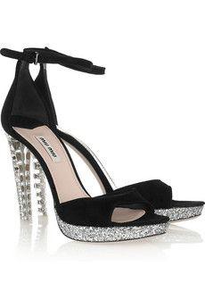 MIU MIU  Crystal-embellished suede sandals