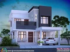 1645 square feet 3 bedroom modern house plan is part of Bungalow house design - 1645 square feet 3 bedroom modern style beautiful house plan by Dream Form from Kerala 2 Storey House Design, Duplex House Design, House Front Design, House Design Plans, Modern Small House Design, Minimalist House Design, Modern Contemporary House, Small Modern House Plans, Modern Design