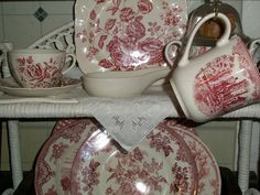 Red and white transferware.