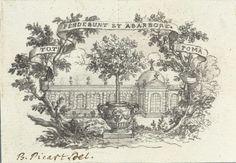 Bernard Picart   Vignet met boom in pot voor gebouw, Bernard Picart, 1683 - 1733   Ontwerp voor een prent.
