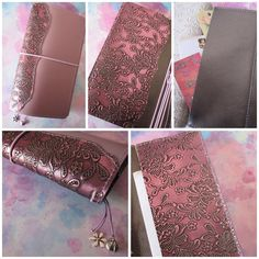Custom order regular size Midori style traveler's notebook in lavender with passion plum embossed leather spine detail and custom pocket design. Paperflower.com.au #paperflower #bypaperflower #midori #fauxdori #planner #journal